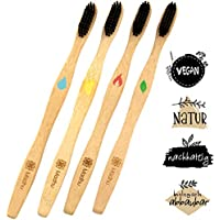 Bambus Zahnbürsten 4er Set Vegan - Keine Verwechslungsgefahr Dank 4-Elemente Editition ♻️ Biologisch Abbaubar ♻️ Mittelharte Naturborsten