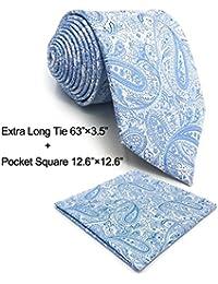 SHLAX WING Nuevo Corbatas Para Hombre Cachemir Tie Set Plateado Azul for  Traje de negocios Suit afee977cdca