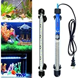 BURAQ™ Aquarium ipx8 Rated Automatic Heater & Multi Colour led Light Combo Beginner Set Water Proof Fully Submersible for All Fish Tanks (27 cm Length)