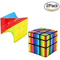 BFULL Speed Cube Set, 3x3x3 Magic Cube Set of Torsion Twisted Cube and Colorful Cube Puzzle Toy for Kids and Adults