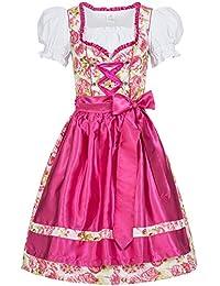 Dirndl Set 3 tlg. Trachtenkleid Mimi Blumendruck + Bluse + Trachtenschürze pink, Marke Gaudi-Leathers