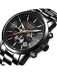 47e915913397 LIGE Mens Relojes Moda Impermeable Sprots Reloj de Cuarzo Analógico Hombres  Negro Acero Inoxidable Cronógrafo Calendario Reloj…