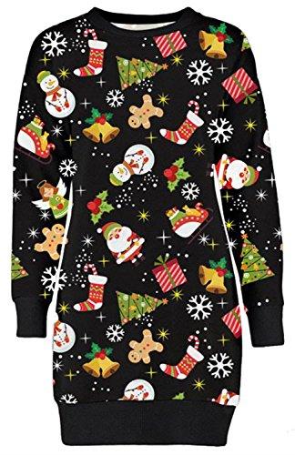 *Frauen Christmas Reindeer Printed lange Sleeve weihnachten Sweatshirt Pullover Kleid 36-50 (40-42, Ginger Bread)*