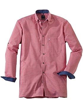 Olymp Hemd Luxor, Trachtenhemd, modern fit, rot/weiss kariert