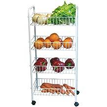 MSV MS296 - Carrito de cocina multiusos, 4 niveles, metal, color blanco