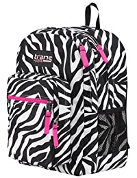 TRANS von JanSport Laptop Sleeve Rucksack Zebra Print, HOT PINK TRIM