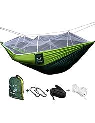 VOBAGA Hamaca con Mosquitera Para 2 Persona,Hamaca Portátil para Camping Jardin Terraza Acampada Viaje Colgante para Dormir Relajar Carga 200 kg (260 X 140cm) Blanco y Verde