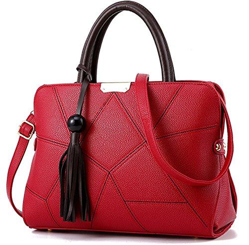 Xinmaoyuan Borse donna Lychee borsette Pu Borsa da donna grande pacchetto di Capacità sacchetto con striping Vino rosso