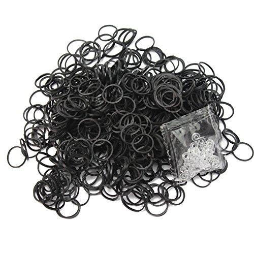 Lecimo 600x Black Rubber Bands +24 Clips Gummiband für Loom Kit DIY Armbänder Refill