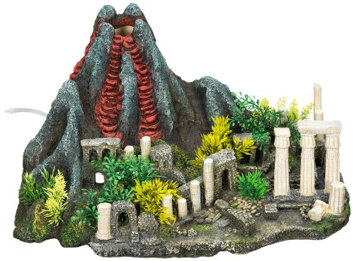 Nobby 28335 Aquarien-deko Aqua Ornaments Vulkan mit Säulen und Pflanzen, L36 x B23.5 x H19 cm