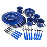 StanSport Emaille Camping Geschirr Set, 24-teilig, blau
