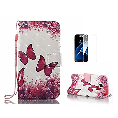 Galaxy S6 Case,Galaxy G920 Cover [With Free Tempered Glass Screen Protector],Fatcatparadise(TM) [Kickstand] High Quality Excellent Cover Case, Colorful 3D Pattern Design Flip Magnetic Premium Folio PU Leather Credit Card/Cash Holder Slots Wallet Fashion Ultra Slim Fit Protective Case Cover For Samsung Galaxy S6/G920 (Rose Butterfly)