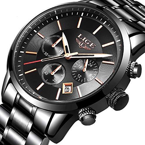 5fb091c1770b Lige Men s Watch Fashion Waterproof Stainless Steel Chronograph Luxury  Business Military Analog Quartz Watch Classic Black