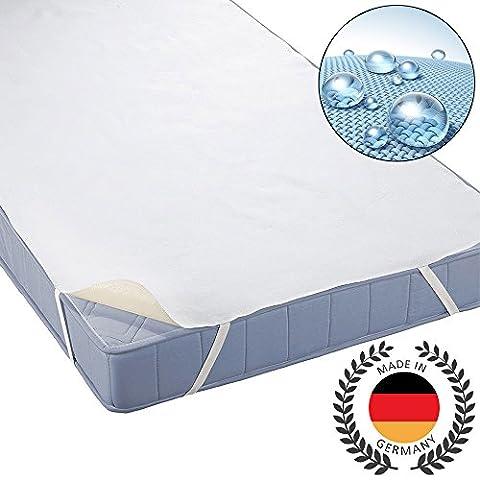 BEAUTECT - Alèse - Protège Matelas Molleton - Probleme d'Incontinence - Avec 4 élastiques - Uni - Blanc - 80x200cm