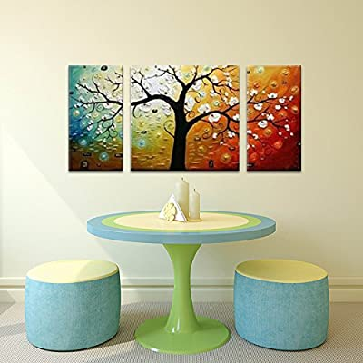 "Wieco Art 3-Piece ""Lucky Tree"" Stretched and Framed Hand Painted Modern Canvas Wall Art Set - low-cost UK light shop."
