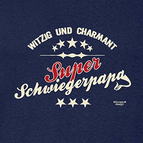 Fun-T-Shirt für Vater als tolle Geschenke-Idee Motiv: Super Schwiegerpapa Farbe: navy-blau Navy-Blau