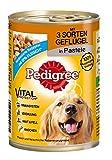 Pedigree Adult Hundefutter 3 Sorten Geflügel, 12 Dosen (12 x 400 g)