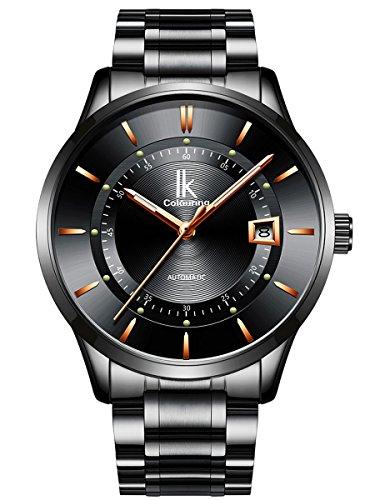 Alienwork Automatik Armbanduhr Herren Damen Uhr Edelstahl Armband Metallarmband Metallband schwarz Automatikuhr Herrenuhr Damenuhr Kalender
