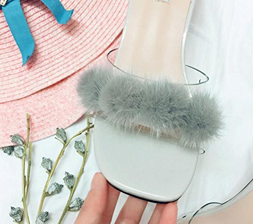 PBXP Hochzeit Beliebte Pantoffeln Künstliche Feder Dekoration Chunky Mid Heel Square Toe Frauen Feminine Casual Pantoffeln Prime Day EU Größe 35-39 Grey