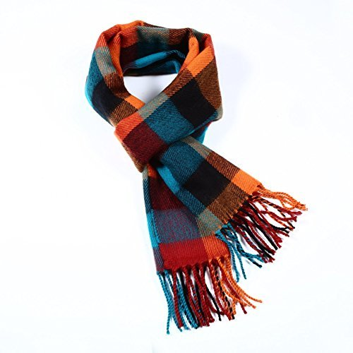 A.WAVE Softer than Cashmere Wool Touch Tassel Ends Plaid Check Solid Scarf (Orange and Blue)
