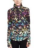 Damen Sport T-Shirt Langarm Laufshirt - 1/2 Reißverschluss Fitness Sweatshirt Laufjacke Running Tops (M, Fantastic)