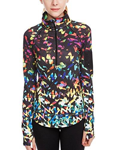 icyzone Damen Sport T-Shirt Langarm Laufshirt - 1/2 Reißverschluss Fitness Sweatshirt Laufjacke Running Tops (L, Fantastic) - Mesh-spandex-sport-bh