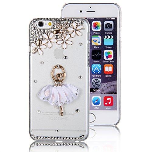 JewelryWe Strass Blumen Ballett Tanz Mädchen Bling Handy Case Schutzhülle Tasche Hülle für Apple Iphone 6(4,7