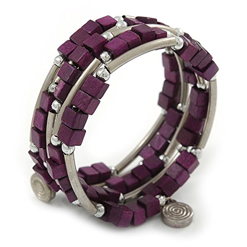 Deep Purple Cube Holz Perle und Silber Ton Metall Bar Armband mehrsträngig (Purple Cube)