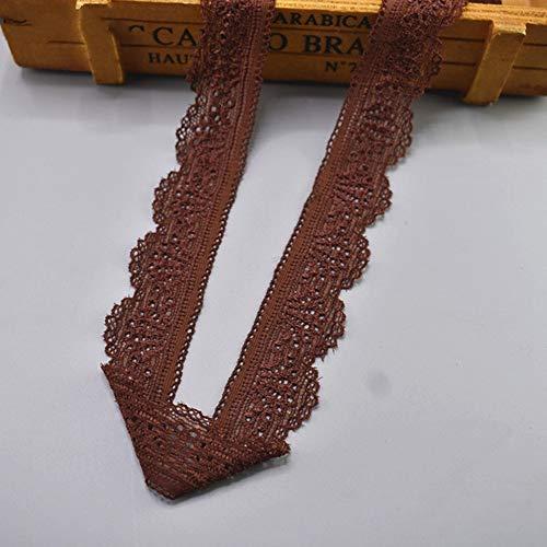 EVEYYLS 2019 New elastischen Spitzenband Band 30mm breit Borte Stretch Spitzenbesatz Bestickt Net Cord zum Nähen Kostüm afrikanischer Spitze Stoff, Dunkelbraun, 10 Yards -