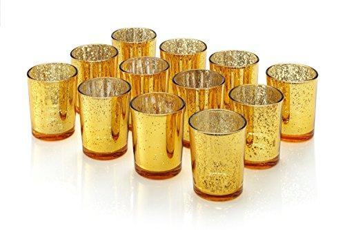Gold Votiv-kerze (Artis Mercury Glas Votive Kerze Teelichthalter 2.75