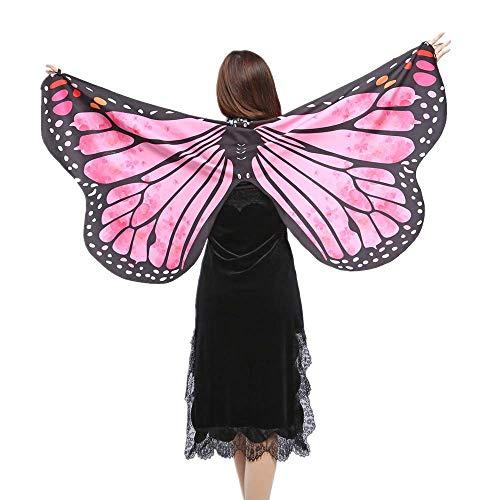 WOZOW Damen Schmetterling Flügel Kostüm Nymphe Pixie Umhang Faschingkostüme Schals Poncho Kostümzubehör Zubehör (Heißes Rosa)