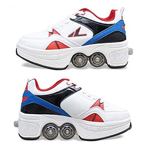 YPYGYB Schlittschuh Verformung Schuhe, Begabtes Mit Zwei Riemenscheiben, Können Gehen, Oder Können Rutschen Rollschuhe Atmungsaktiv Und Komfortabel Schuhe Sport Turnschuhe,White-35