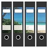 4 x Akten-Ordner Etiketten / Design Motiv Blick auf das Meer / Urlaub / Aufkleber / Rücken Sticker / für breite Ordner / selbstklebend / 6cm breit