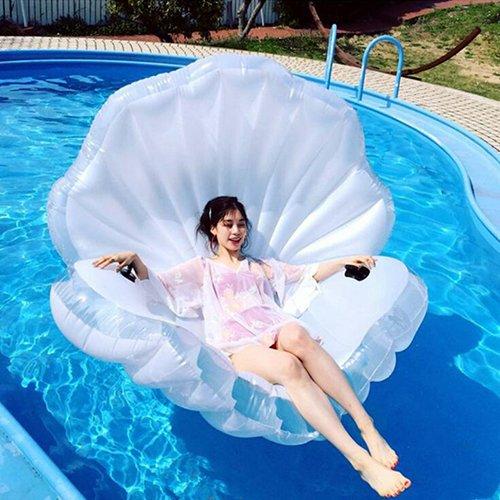 Riesiges Aufblasbares Seashell Pool Floß Luftmatratze,Schwimmendes Sitz Boots Spielzeug Für Spaß Und Entspannende 160X135x30cm Ourdream