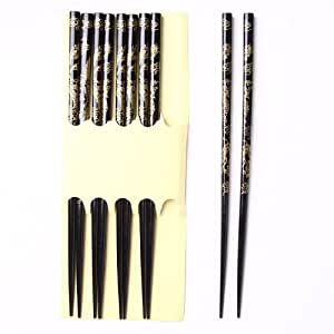 QIYUN.Z Pack Of 5 Pairs Black Wooden Chinese Dragon Lucky Totem Chopsticks