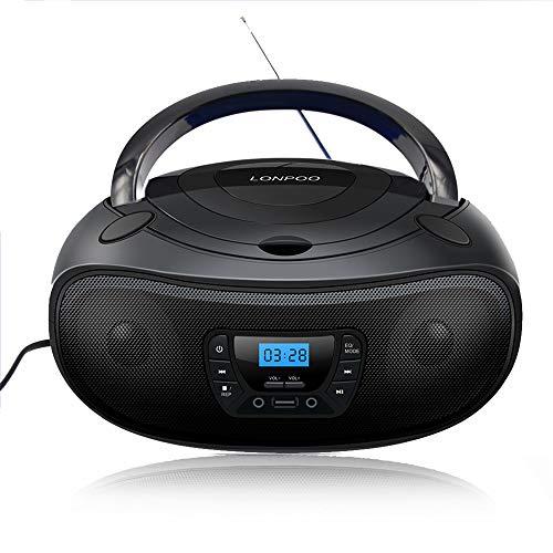 LONPOO Tragbarer CD-Player Boombox Bluetooth mit CD-Radio FM, USB Playback,Aux-Eingang, Kopfhörer Stereo Audio (Black)