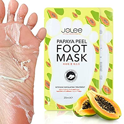 JoLee Papaya Foot Exfoliating Mask 1 Pair, Slip-On Sock Style Peel-Off Foot Mask with Papaya Extract for Baby Soft Feet, Promotes Exfoliating and Removes Calluses and Dead Skin, One Size Fits All