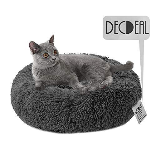 Decdeal Cama Gato Donut Cama Mascotas Perros Redonda