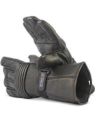 Guantes de Motocicleta Completamente de Cuero por Blok-IT. Los Guantes son Térmicos, Material 3M Thinsulate. Para Motoristas, Motocicletas & Motos (Negro, L)
