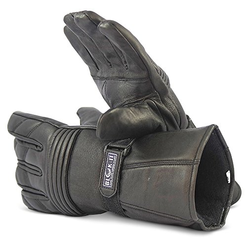 Blok-iT Ganzleder-Motorrad-Handschuhe Handschuhe sind Thermisch, aus 3M Thinsulate Material. Für Mountainbiker, Krafträder & Motorradfahrer (Schwarz, L)