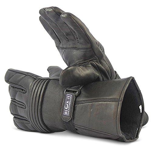 Guantes de Motocicleta Completamente de Cuero por Blok-iT. Los Guantes son Térmicos, Material 3M Thinsulate. Para Motoristas, Motocicletas & Motos (Negro, M)