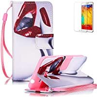 Funyye Custodia Per Samsung Galaxy Grand Prime G530 Cover in Pelle Portafoglio [Con Gratis Pellicola Protettiva] Sexy Labbra Disegno Elegante Libro Cordino Stile Copertura Supporto Stand + Porta Carte + Chiusura Magnetica protettivo Caso Samsung Galaxy Grand Prime G530 Flip Wallet Case PU Leather Shell Skin Bumper With Hand Strap Lanyard Free Screen Protector