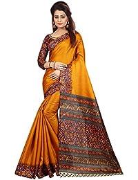 JENCY FASHION Kalamkari 5 Silk Saree With Blouse (MUSTARD)