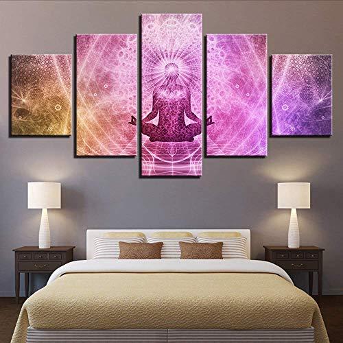 (Fbhfbh Wohnkultur Leinwand Malerei 5 Stücke Drucke Religiöse Poster Wohnzimmer Wand Modulare Buddha Meditation Klassische Bilder Kunstwerk, 4X6 / 8/10 Zoll, Ohne Rahmen)