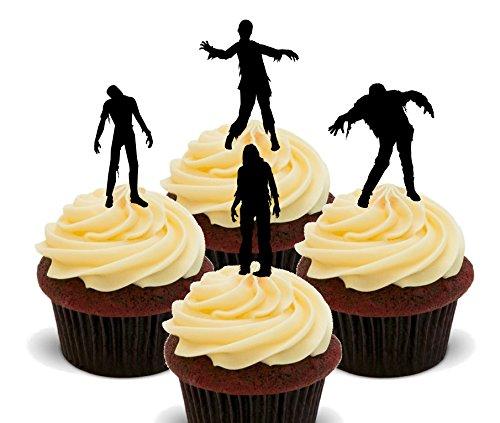 (Torten-, Cupcake-Dekoration - Zombie-Motive, essbar, Essoblaten zum Aufstecken, 12er-Pack)