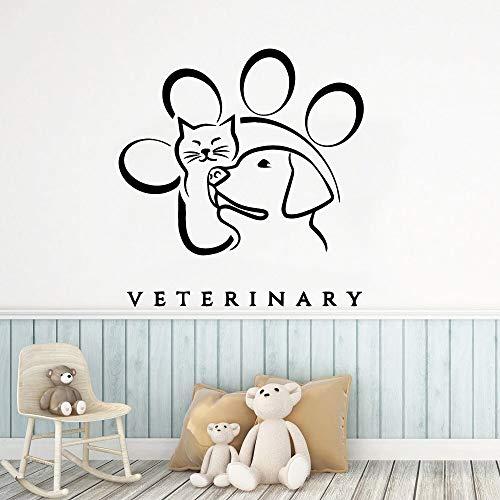 ganlanshu Bellissimi Gatti e Cani Carta da Parati Adesivi murali Decorazione Famiglia, Decalcomanie Arte Camera da Letto per Bambini 42 cm x 43 cm