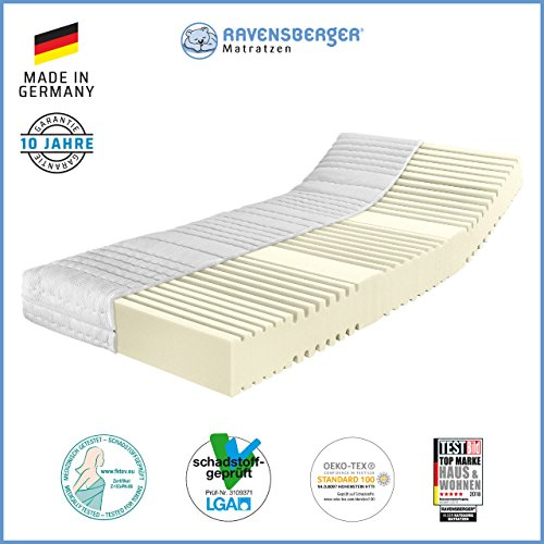 RAVENSBERGER Orthopädische | 7-Zonen-HR-Kaltschaumkomfortmatratze | RG 50 Härtegrad 4 (ab 120Kg) | Made IN Germany - 10 Jahre GARANTIE | Oeko-TEX® 100 MEDICORE silverline®-Bezug | 140 x 200 cm