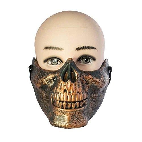 Halloween-maschera mezzo teschio, colore bronzo, ideale per halloween, paintball, fancy dress