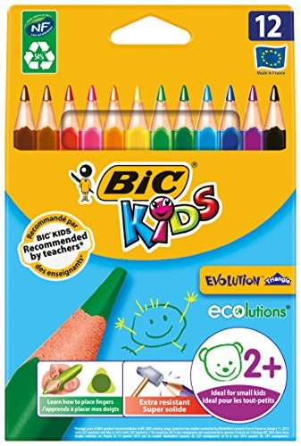 BIC Kids Evolution Triangle ECOlutions Lápices de colores Triangulares – colores Surtidos, Blíster de 12 unidades
