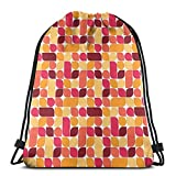 Jiger Drawstring Tote Bag Gym Bags Storage Backpack, Bauhaus Style Inspired Geometric Asymmetric Retro Pattern with Pastel Colors Print,Very Strong Premium Quality Gym Bag for Adults & Children